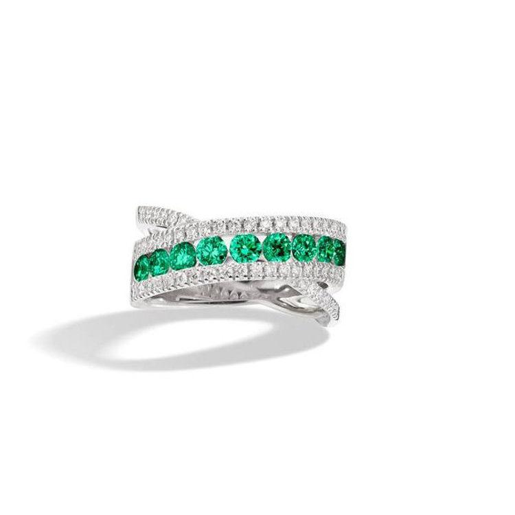 Immagine di Anello Recarlo Decò in Oro Bianco Diamanti e Smeraldi R10FM001/SM